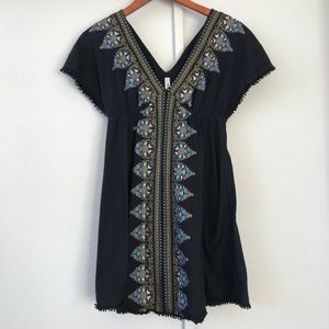 Free People Bohemian chic tunic black pompoms